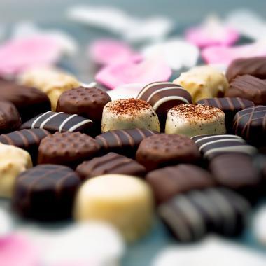Belgian chocolate and rose petals
